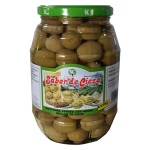 Aceitunas verdes con hueso Mollar de Cieza. Tarro de cristal de 960 gr. Categoría Extra. Calibre 160/180.La Dehesa