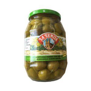 aceituna manzanilla Cieza sabor anchoa tarro cristal 1 kg La Dehesa